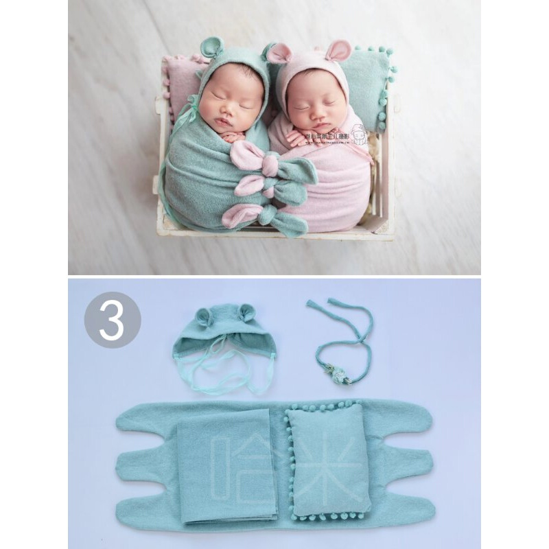 [좋 은 품질 안심 구 매] 하 미 신생아 촬영 주제 세트 의상 세트 아기 사진 입 히 기 베 이 비 만월 촬영 도구 3 (파란색) 5 종 신생아 (0 - 2 개 월)