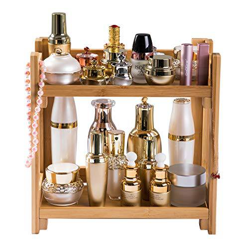 PELYN Bathroom Countertop Organizer Bamboo Makeup Storage Shelf Large