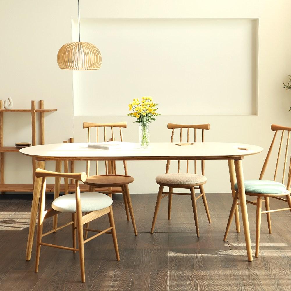 체나레 HPM 멜라민 타원형 화이트 카페 식탁 1200 테이블, 내추럴