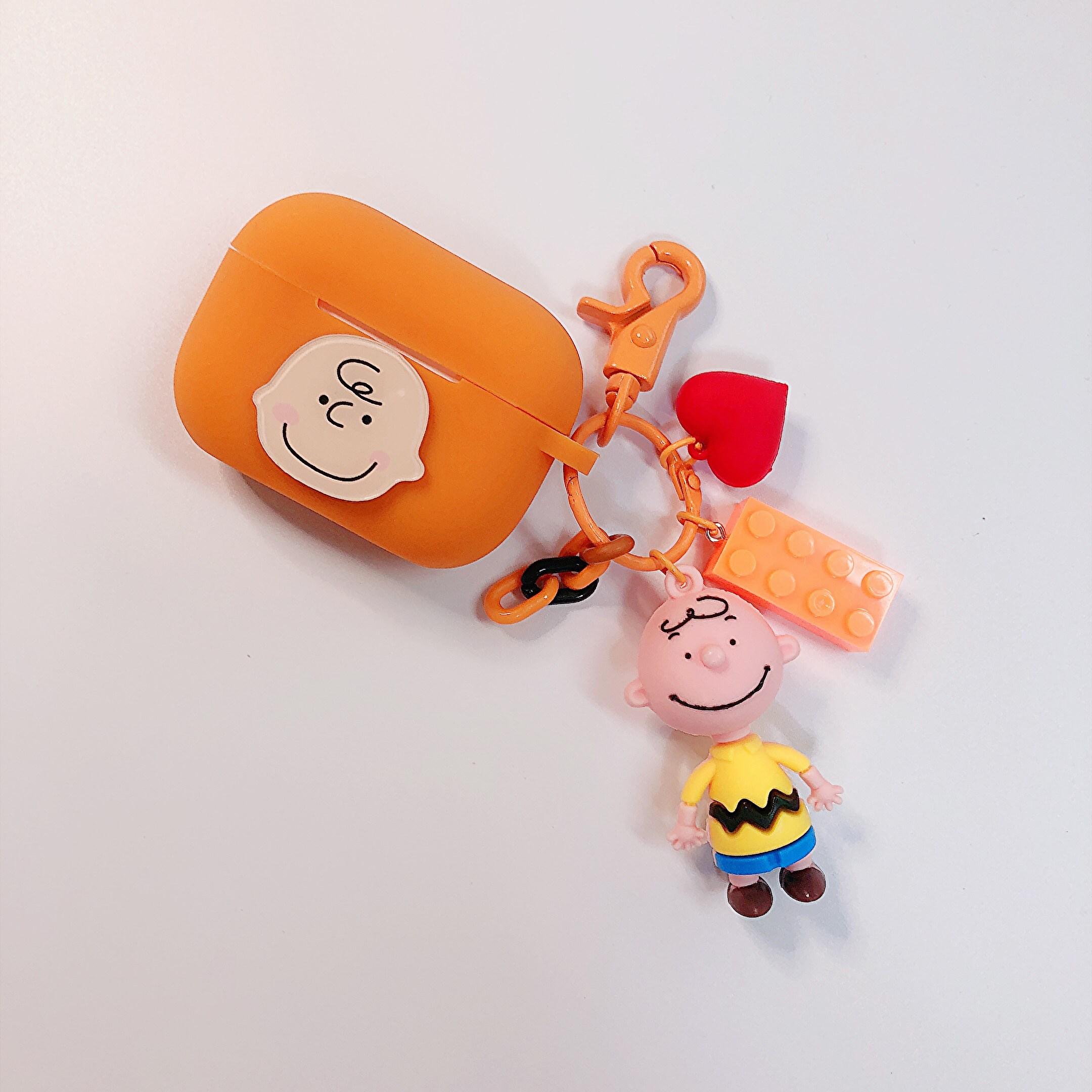 민아네 에어팟1 에어팟2 에어팟프로 찰리브라운&스누피 케이스 키링 1세트 122, 에어팟 프로케이스, 오렌지
