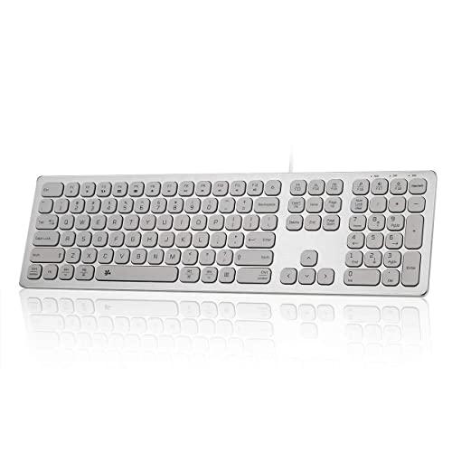 알루미늄 슬림 유선 키보드 미국 레이아웃 유선 컴퓨터 키보드 Apple iMac MacBook Mac 및 PC Windows 10 8 7 USB 키보드 (Silver), Silver