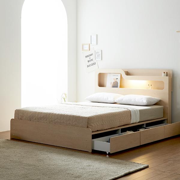 보루네오하우스 프라임 올슨 LED 서랍 SS 침대 CL텍스독립매트 DM6219, 메이플