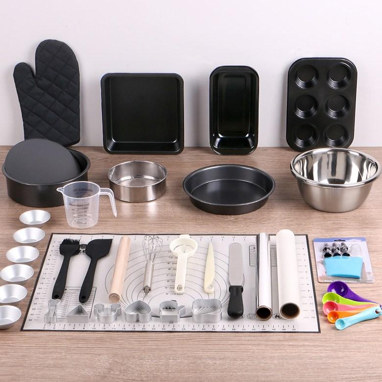 베이킹 도구 세트 홈 베이킹 초보자용 풀세트 베이킹 몰드 홈 베이킹 키트 베이킹 재료, 블랙 【믹서 및 전자 저울 없음】