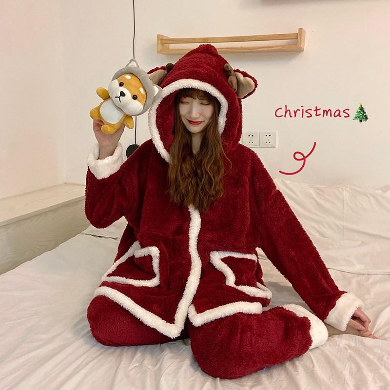 겨울 여성 크리스마스 산타 극세사 홈웨어 수면 잠옷