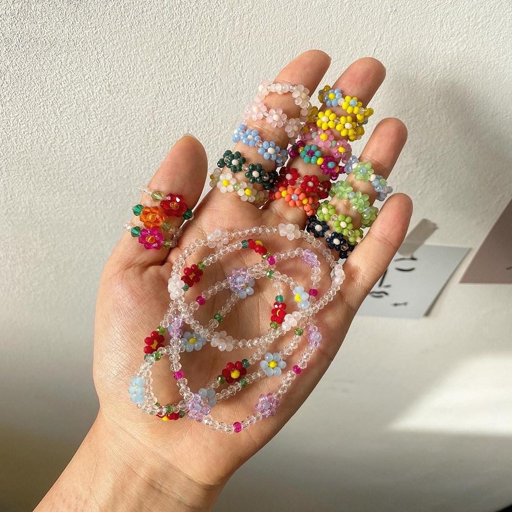 귤팩토리 반투명 비즈 구슬 꽃 플라워 삐삐 반지 16종