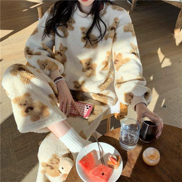 안나리야 양털 곰돌이 동물 캐릭터 파자마 수면 잠옷 세트 SY