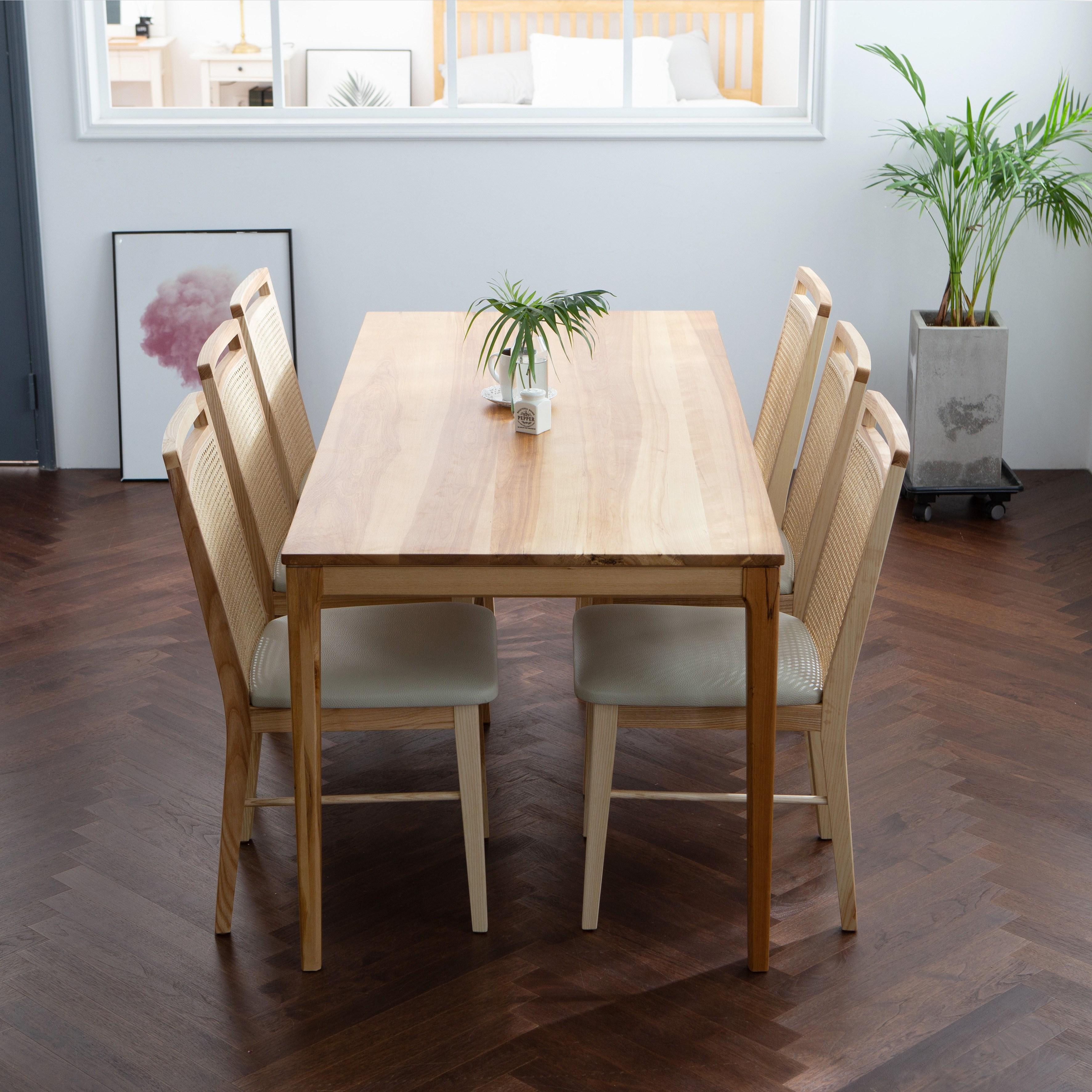 체나레 케인 자작나무 원목 테이블, 내추럴