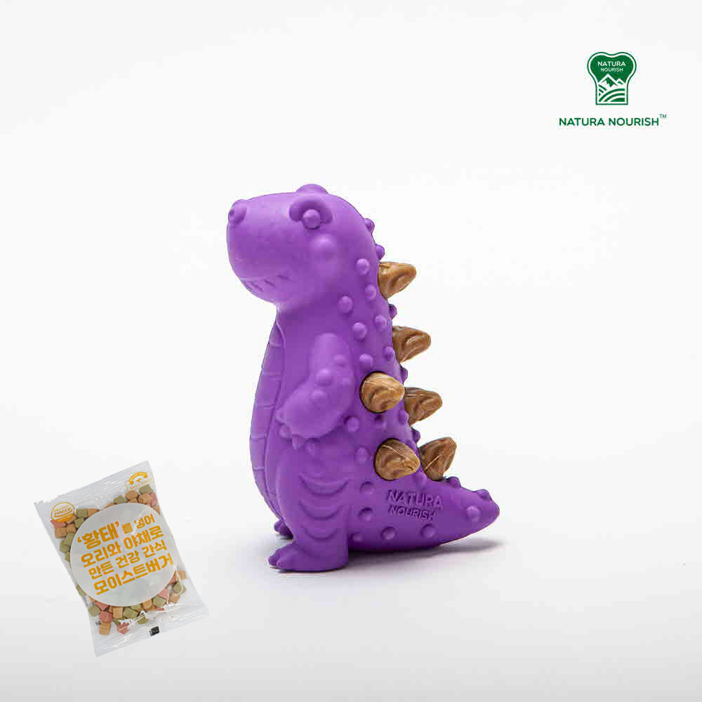 네추라너리쉬 강아지 노즈워크 덴탈트릿 장난감 공룡 티라노사우르스 (퍼플) + 황태버거 간식 1개 추가증정