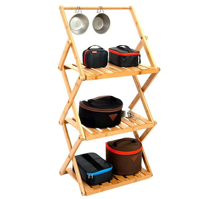 MONTERO 캠핑 폴딩 우드쉘프 3단걸이형 감성 보관대 소나무원목 캠핑용품