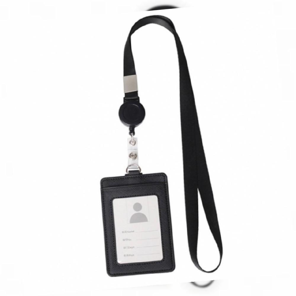 지갑형 사원증 케이스+목걸이줄(세로형) (블랙) 명찰_쇼케이스, Black_1개, Black