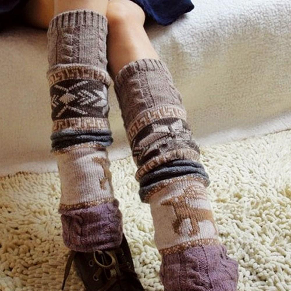 울 다리 토시 컬러풀 꽈배기 패턴 디자인 긴 롱 발 레그워머 겨울 코디 니트 니삭스