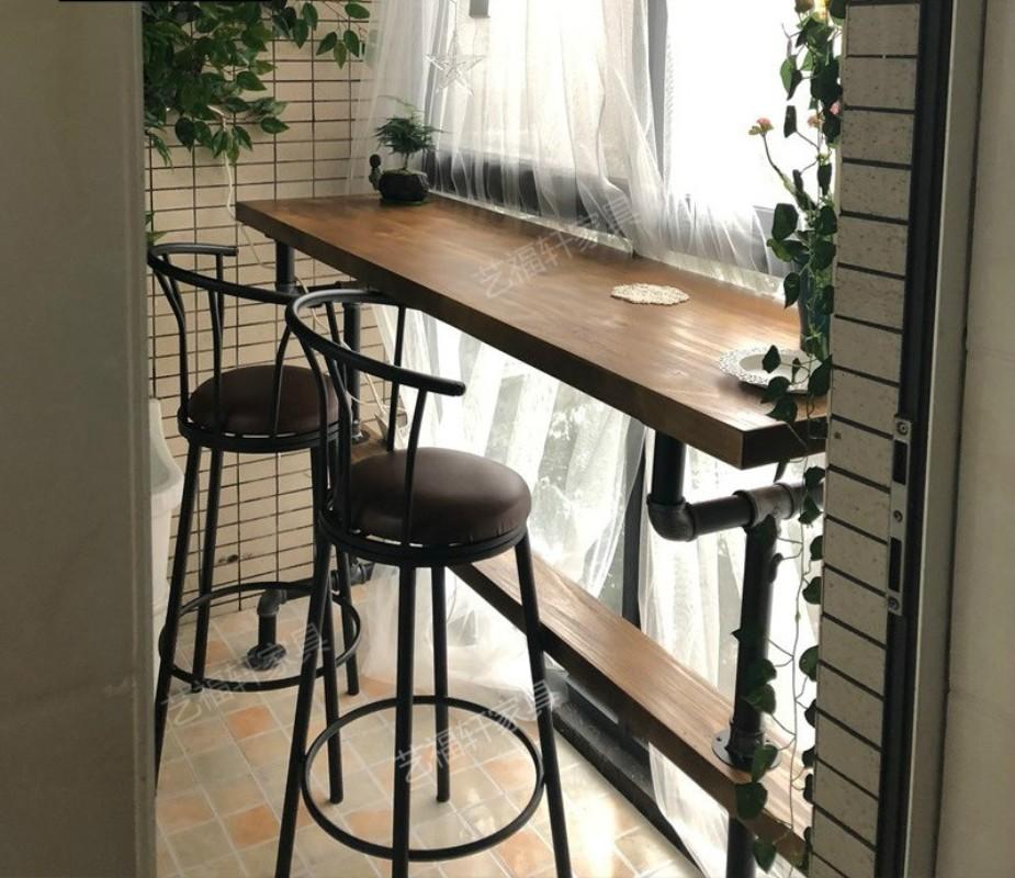 파이프 인테리어 디자인 블랙프레임 원목 홈바테이블 카페 창가 바테이블, 기타 사이즈 맞춤 제작