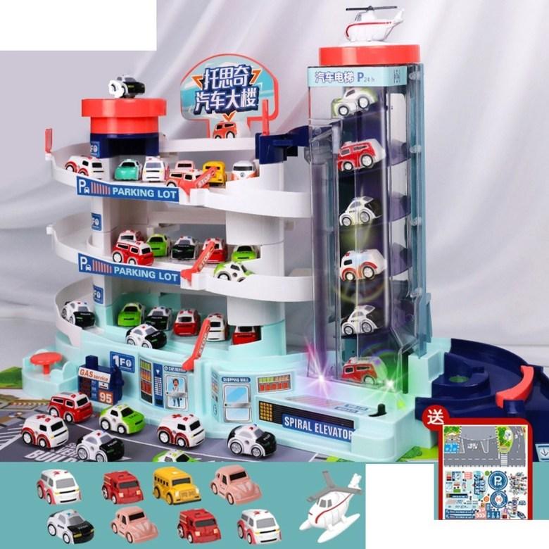 5층 대형 장난감 주차 타워 자동 엘리베이터 전동 컨트롤 작동 선물 서프라이즈 휴대폰 끊는법, 오버사이즈 주차장+LED+차8+비행기1