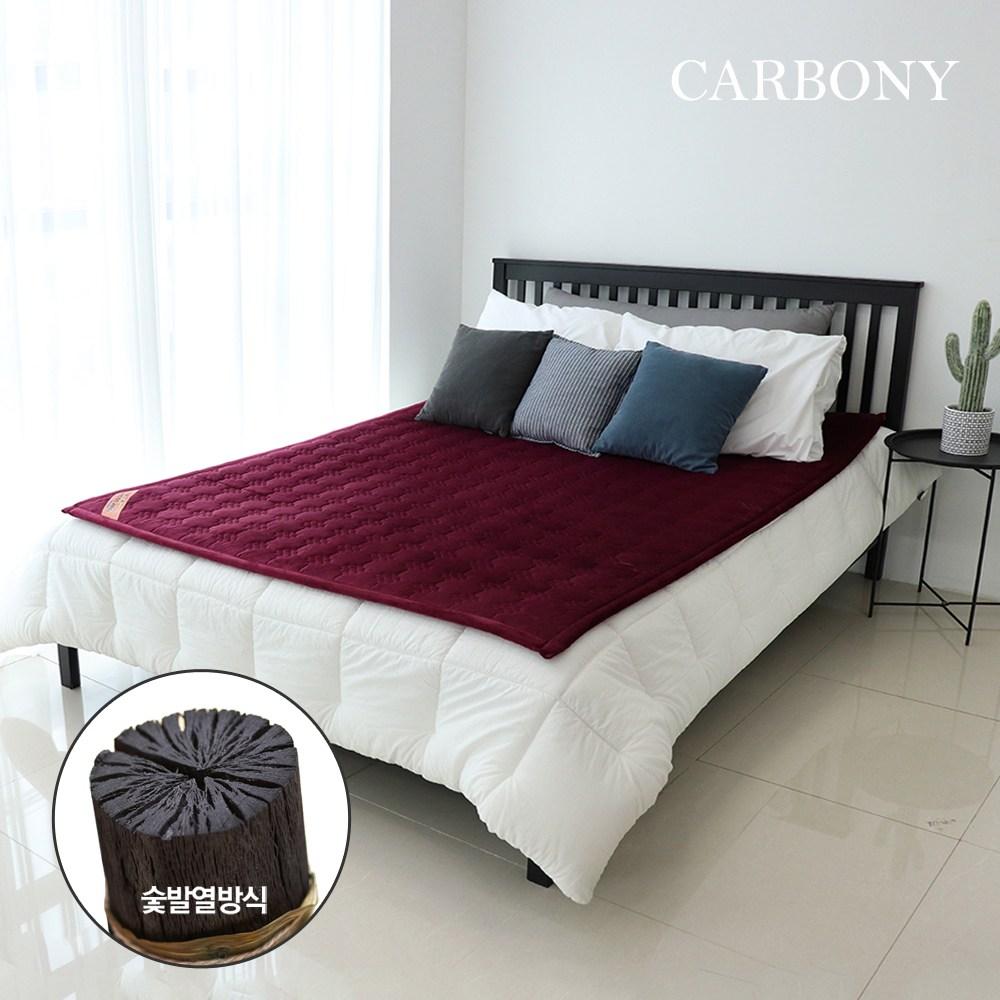 카보니 더웜 자가발열 탄소매트, 1인용, 극세사(와인)