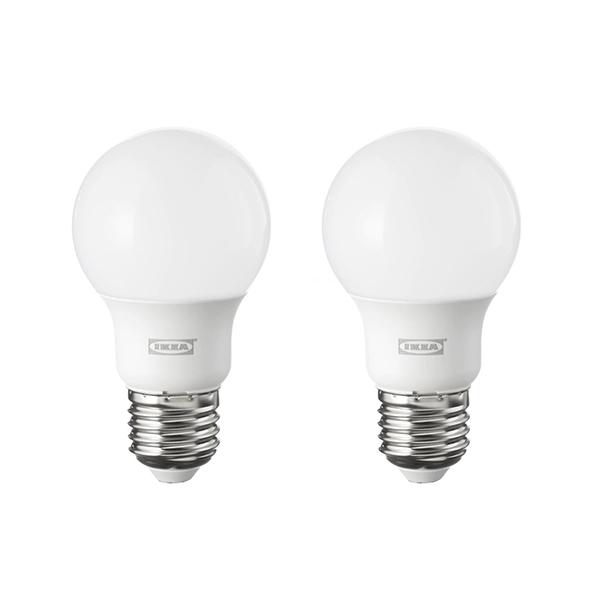 이케아 조명 LED전구 E26 600루멘 구형 오팔 화이트 2개세트 RYET 뤼에트, 2개입, 주광색