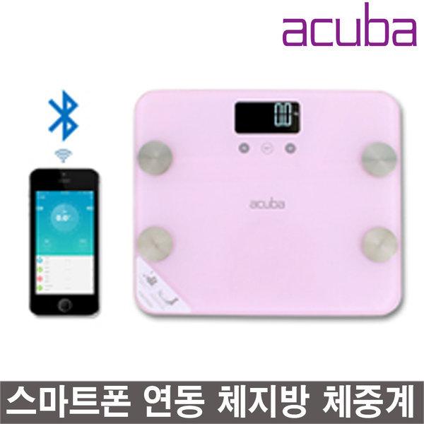 아쿠바 체지방 체중계 스마트폰 연동 스마트 체지방계, 핑크