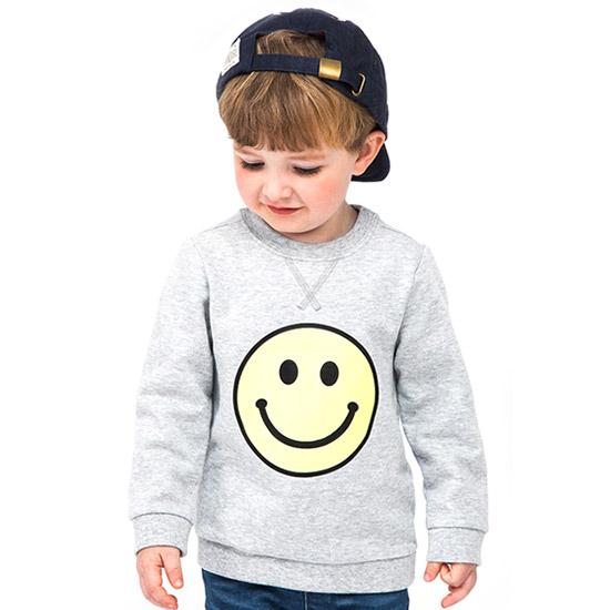 짐보리 (~5세 유아)공용스마일 프린팅 라운드 티셔츠 GTS2419715_GY_