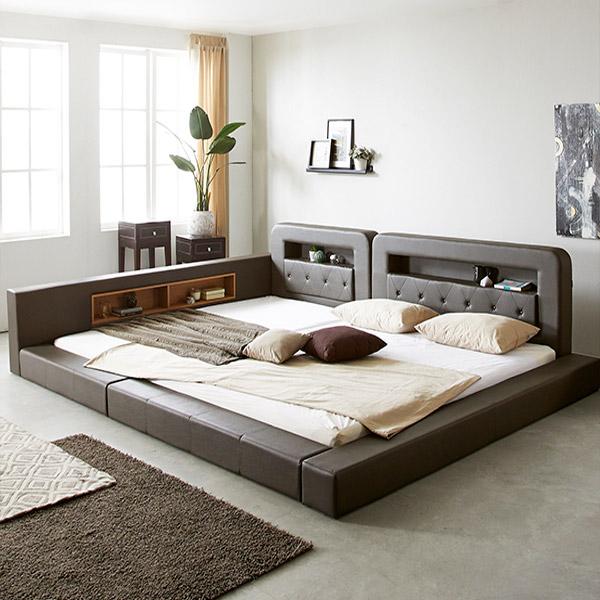 세진침대 PE폼깔판 증정 코코 LED 저상형 패밀리 침대+파워본넬 매트리스 세트, 초코브라운