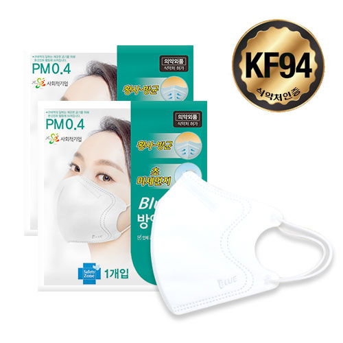 KF94 BLUE 블루 마스크 (20매) 대형 화이트 개별포장, 20매, 1개