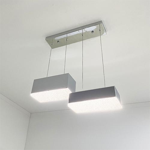 하우존 크리스탈 2등 LED 팬던트등 30W, 화이트