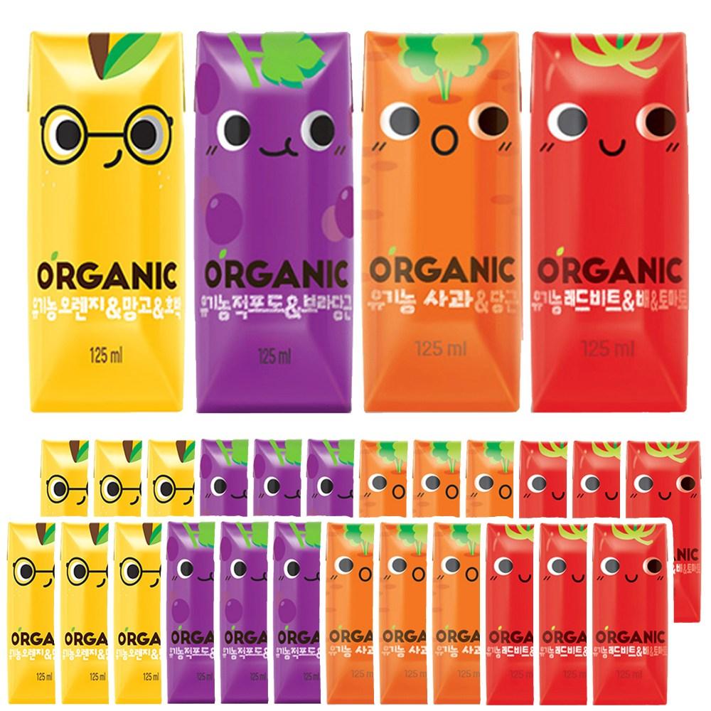 롯데칠성음료 크니쁘니 유기농 오가닉주스 오렌지/적포도/사과/레드비트 4가지맛 각6개씩 (총24개)