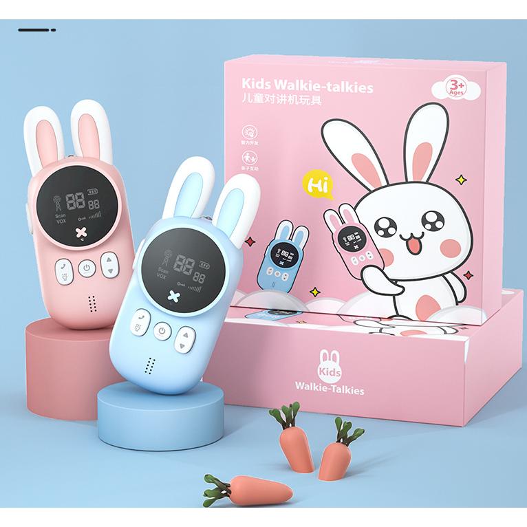 KOOOL 미니 토끼 무전기 세트 워키토키/핑크+블루 2개입, 배터리 미포함, 핑크+블루