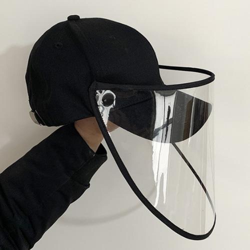 투명 시야확보 안면 보호막 탈부착 가능 챙 모자