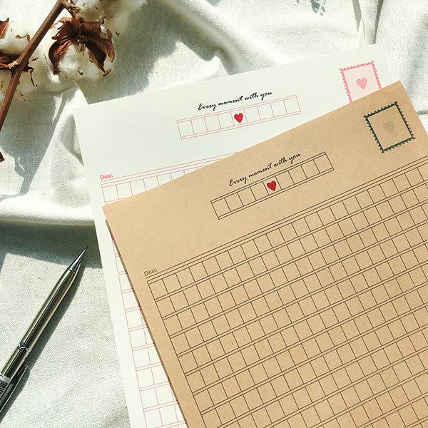 빌럽어스 원고지편지지 [패드편지지/예쁜편지지], 화이트-핑크