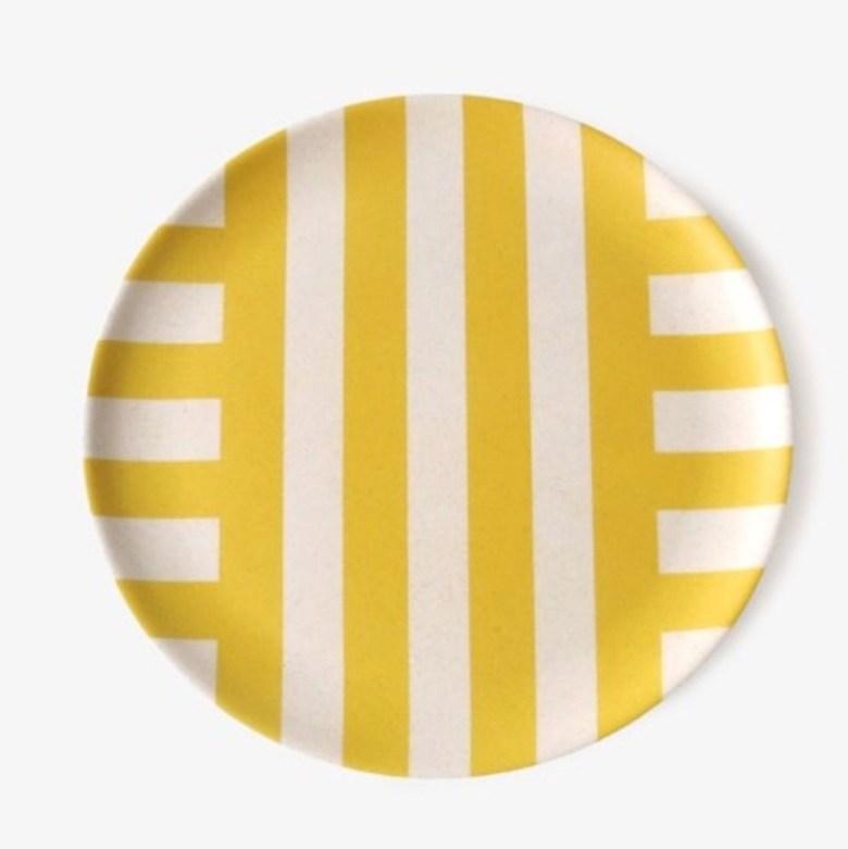 환경보호 대나무섬유 안깨지는그릇 테라조접시, 노랑선개