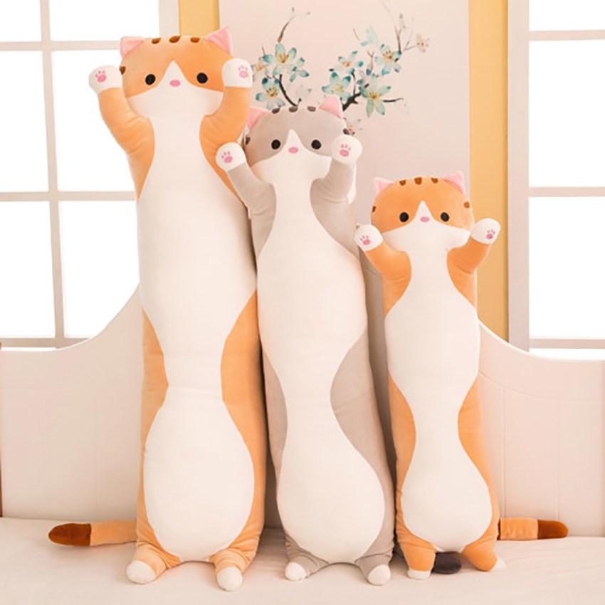 필즈굿아이템 꾹꾹 고양이 인형 바디필로우 긴배게 대형 롱, 그레이