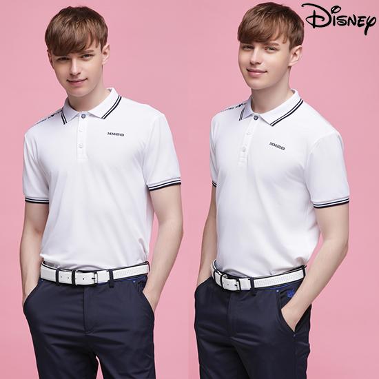 디즈니 [디즈니] 남성 라운딩 카라 티셔츠 화이트