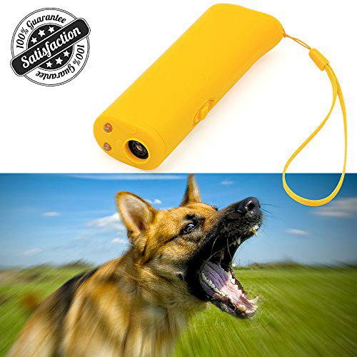 HiGuard 초음파 도그 Repeller 애완 동물 훈련 장치 3 1 볼트 안티 짖는 소리 바 9 볼트 배터리 (노랑)와 핸드 헬드 HiGuard Ultrasonic Dog Re, 1set