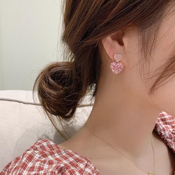 워더미 은침 큐빅 핑크 투 하트 귀걸이 NN488
