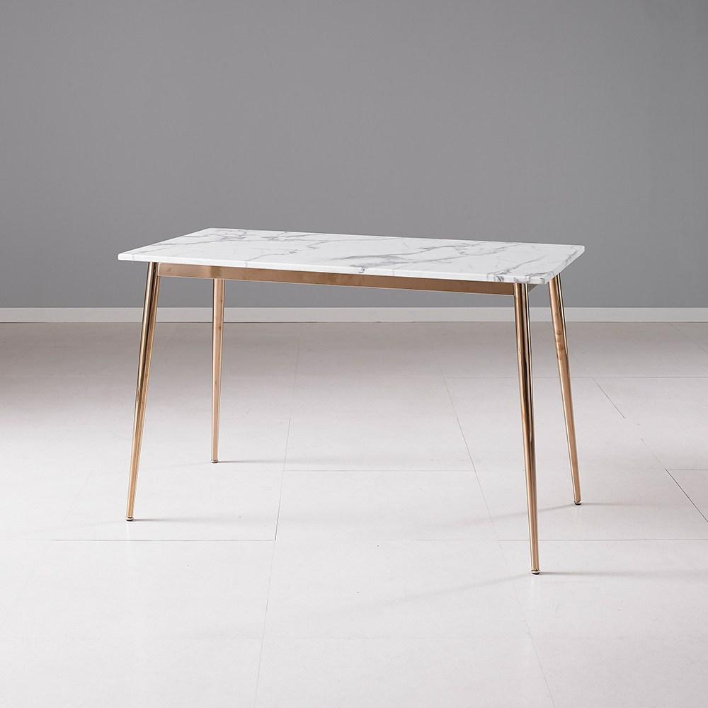 퍼니츠 레덴 인조대리석 1200 사각식탁테이블 커피테이블 1200탁자, 로즈골드_화이트마블