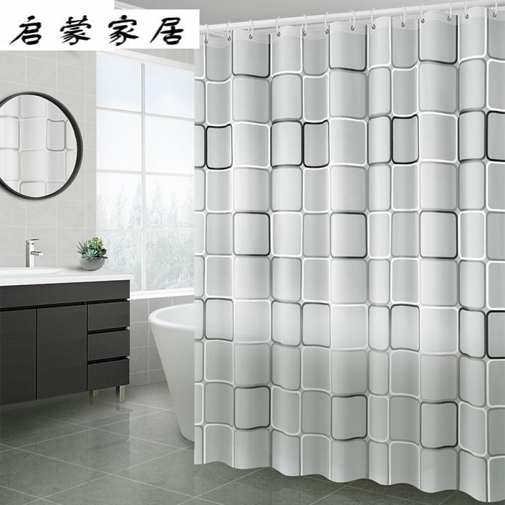 HENGCHAO 욕실 칸막이 욕 커튼 물 샤워 샤워실 화장실 방수 문 천 t0213 [커튼 걸 이] 300 너비 * 200 높이, 상세페이지 참조