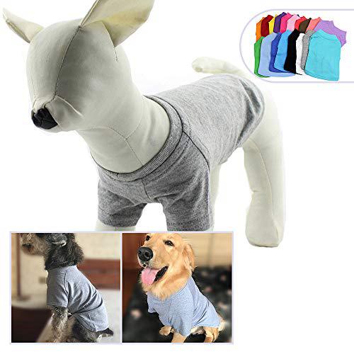 2018 애완 동물 의류 중형 중형견을위한 개 옷 비어있는 티셔츠 티셔츠 100 % 코튼 개 티즈 클래식 (XXXXL 회색) 2018 Pet Clothing Dog Clothes, 1set