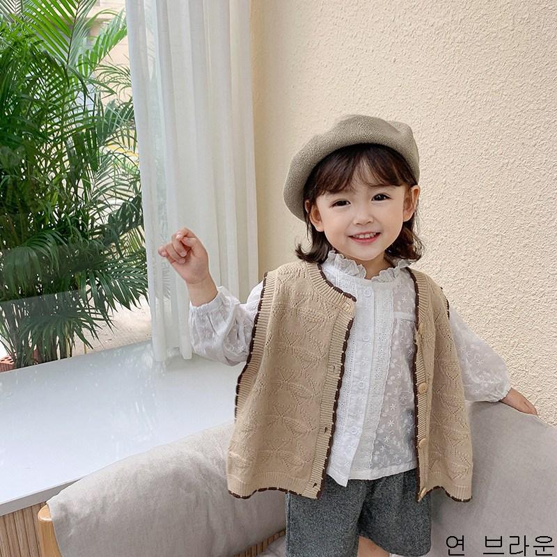 굿데이 컴퍼니 여아 니트 조끼 패션 러블리 아동 봄 가을 민소매 스웨터 재킷 상의 lEMJ14