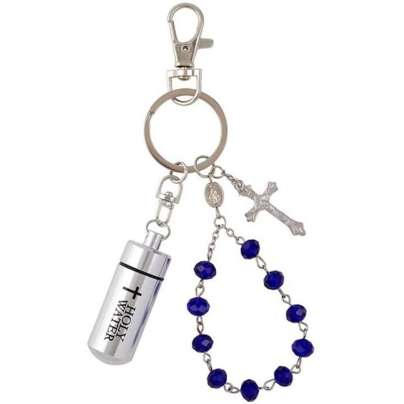 기적의 메달과 십자가 4 1/2 인치가있는 10 년 파란색 구슬 묵주가있는 성수 열쇠 고리 : 가정 및 주방, 단일옵션