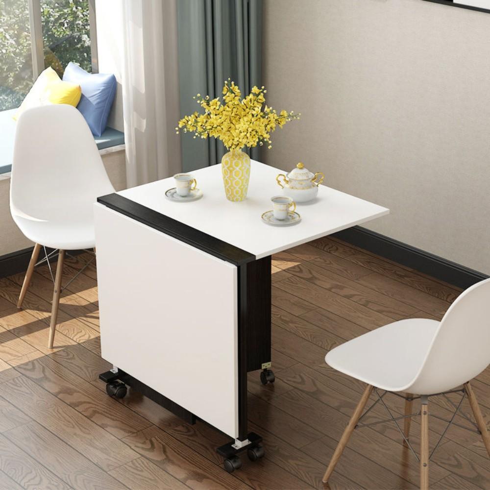 원룸 접이식 4인용 좁은주방 이동식 슬라이딩식탁 보조조리대, 검정&흰색(80x50x65)