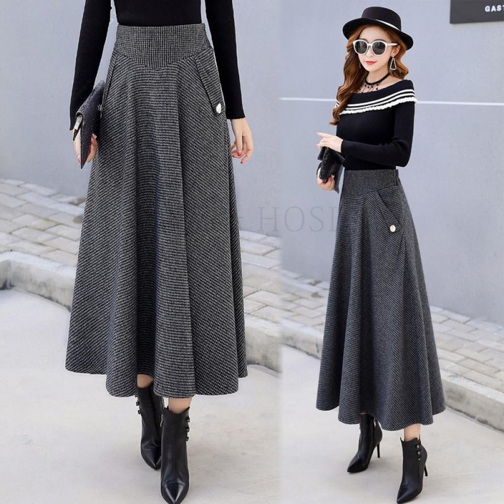 패션 겨울 모직 스커트 여자 하이웨이스트 59호 AG9u5tnb kirahosi