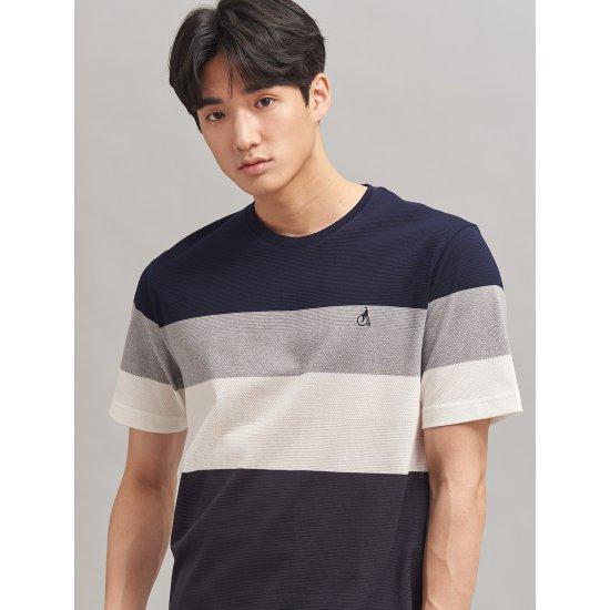 빈폴 [빈폴] 네이비 에어 모던 피케 컬러 블록 티셔츠 (BC0342A24R)