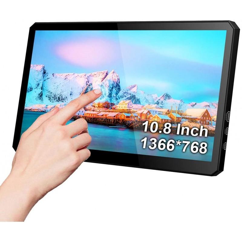 10.8 인치 USB 터치 모니터 (스탠드 포함) -1366x768 HDMI / Type C 휴대용 디스플레이 IPS 게임 화면 (Raspberry PI Mini PC, 단일옵션 (POP 5685404448)