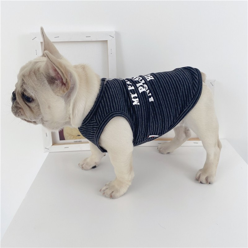 강아지옷 순면 스트라이프 강아지 여름시즌 얇은타입 통기성 프렌치불독 옷 푸들 비숑 퍼그 불독, C03-M