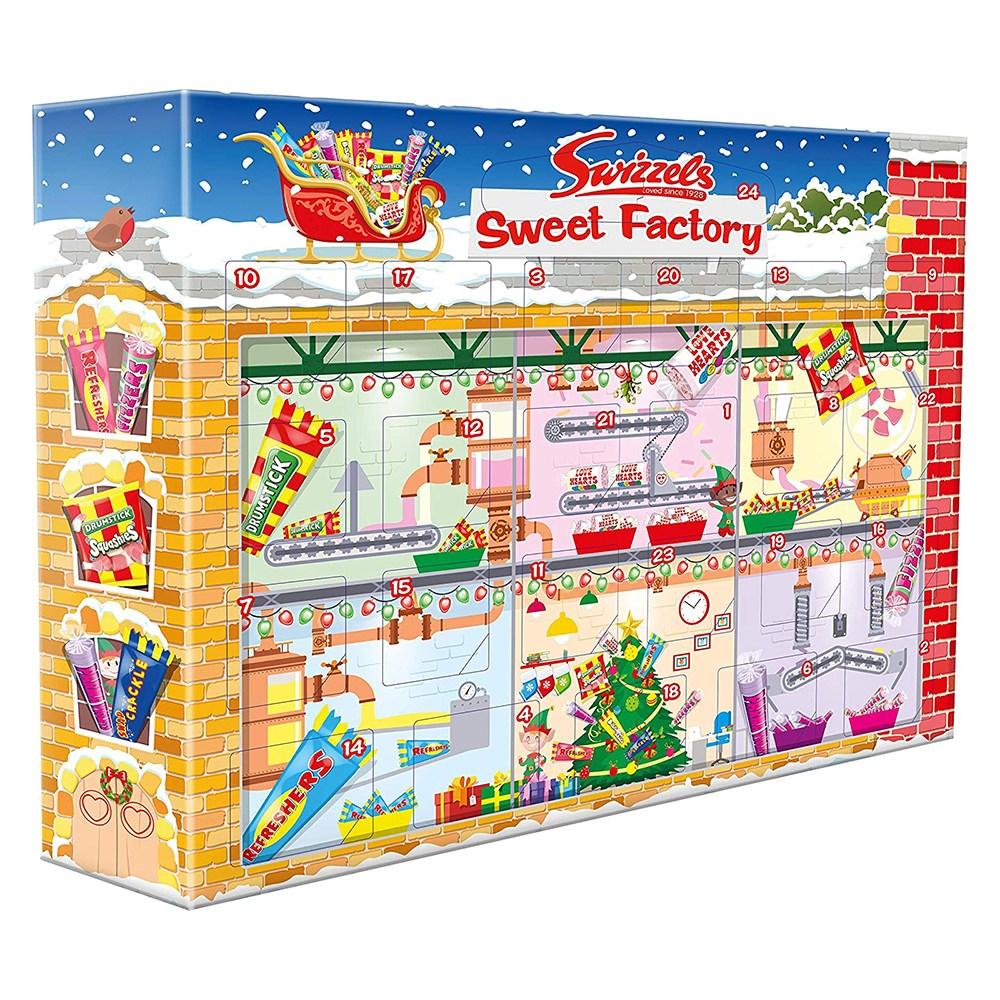 Swizzels 스위즐 크리스마스 어드벤트 캘린더 캔디 220g Christmas Advent Calendar, 1개