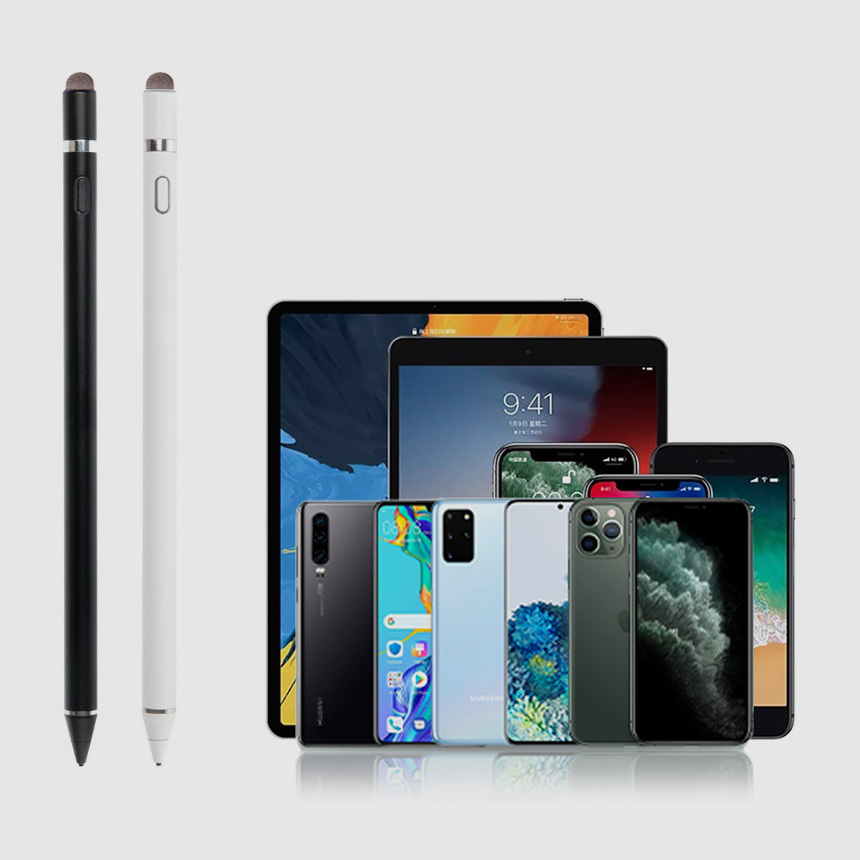 정전기식 스마트폰 태블릿PC 아이패드 얇은 초미세 터치팬 스타일러스터치펜, 145mm, 화이트