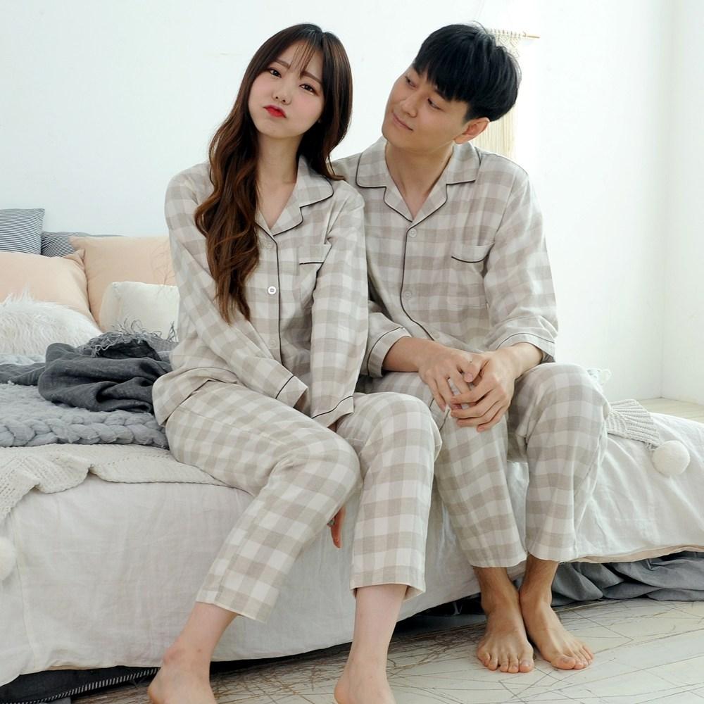 순면체크 파자마세트 커플잠옷