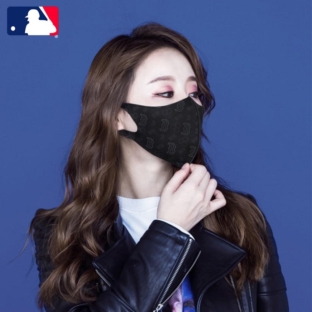 연예인 패션 스포츠 빨아쓰는 귀안아픈 숨쉬기편한 블랙 국산 MLB 마스크