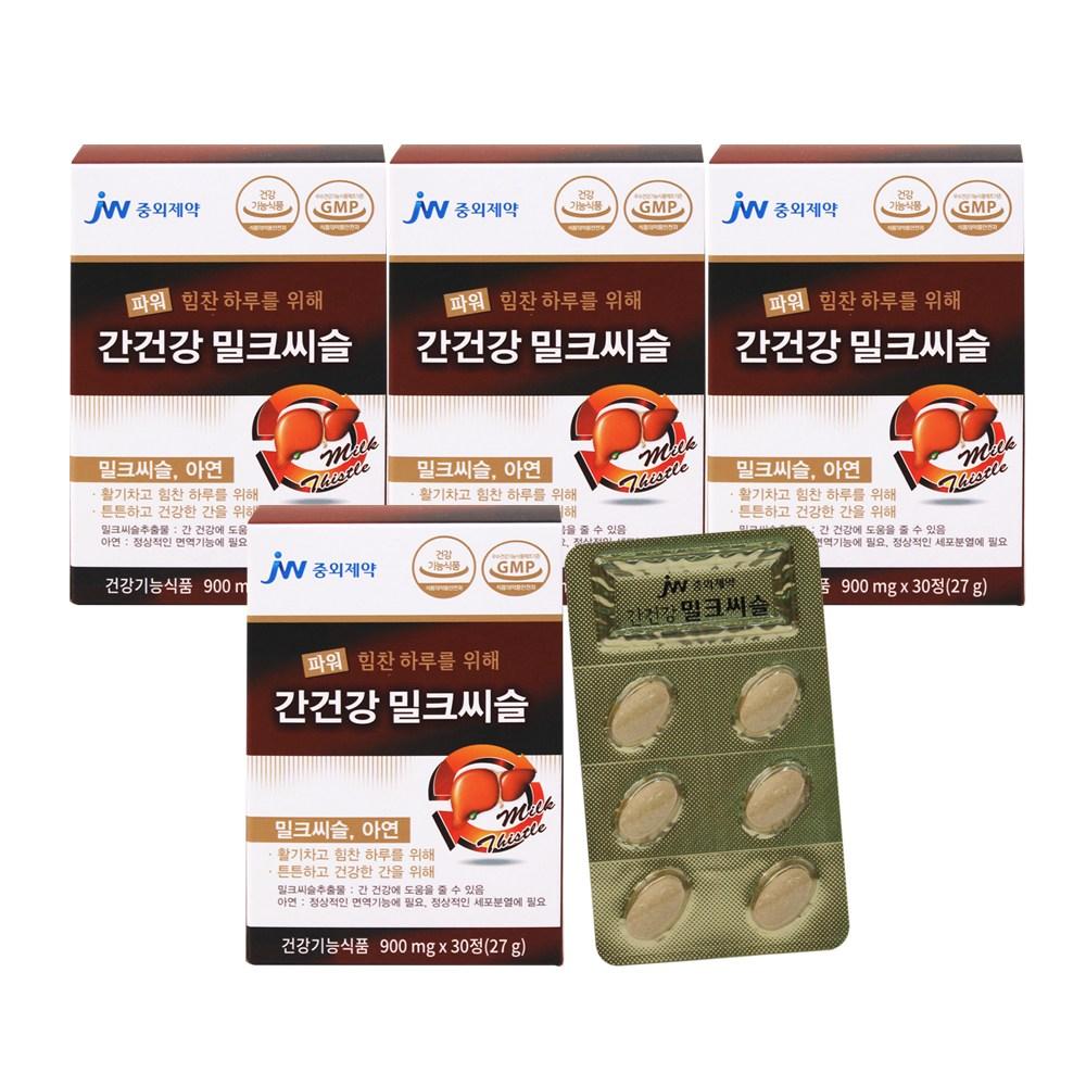 JW중외제약 파워 간건강 밀크씨슬 30정, 900g, 4박스