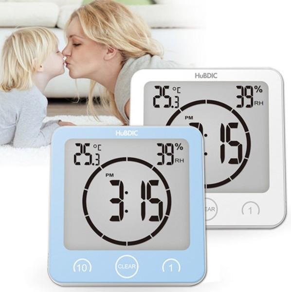 휴비딕 3in1 시계 온습도계 타이머 HT-4 방수 욕실, 화이트