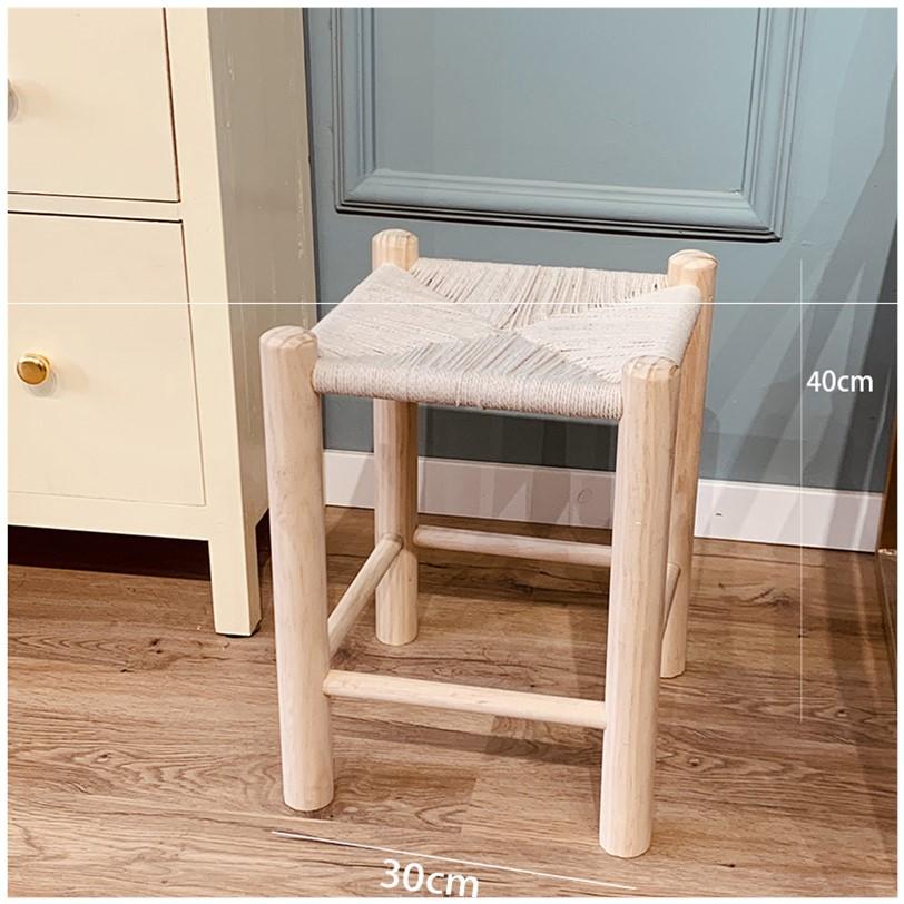 원목 라탄 스툴 의자 카페 테라스 티크 우드 인테리어 밀짚 낮은 체어, 쌍봉삼줄 통나무 짜임 33cm 높이-H9E